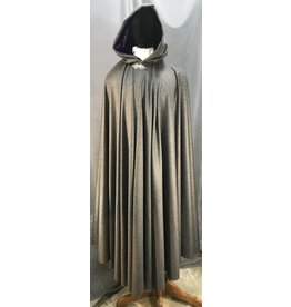 3998 - Extra Long Medium Grey Wool Cloak, Royal Purple Velvet Hood Lining, Pewter Triple Medallion Clasp