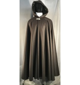 4005 - Brown Full Length Full Circle Cloak, Olive Silk Velvet Hood Lining, Pewter Triple Medallion Clasp