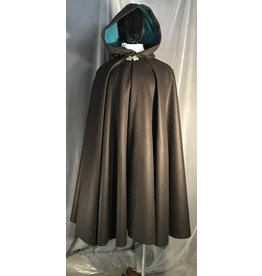4001 - Brown Wool Full Circle Cloak, Teal Cotton Velvet Hood Lining, Pewter Triple Medallion Clasp