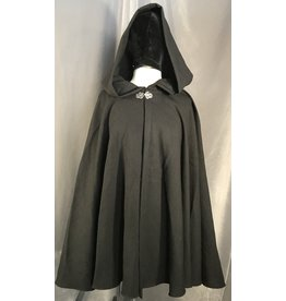 4004 - Black Washed Wool Full Circle cloak, Unlined Hood, Silver-Tone Vale Clasp