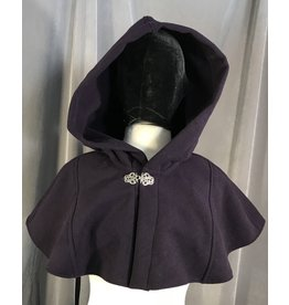 4003 - Eggplant Purple Short Cloak, Unlined Hood, Pewter Triple Medallion Clasp