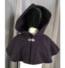 4003 - Eggplant Purple Short Cloak, Unlined Hood, Pewter Triple Medallion Clasp