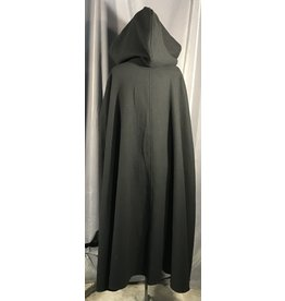Cloak and Dagger Creations 4002 - Basketweave Black Wool Shaped Shoulder Cloak, Unlined Hood, Silver-tone Vale Clasp