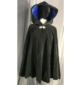 Cloak and Dagger Creations 3994 -  Black Velvet Cloak, Royal Blue Hood Lining, Pewter Vale Clasp