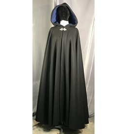 4007 - Black Wool Cloak, Blue Velveteen Hood Lining, Pewter Triple Medallion Clasp
