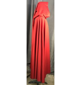Cloak and Dagger Creations 4008 - Imperial Red Lightweight Cloak, Unlined Liripipe Hood, Silver-Tone Vale Clasp
