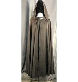 Cloak and Dagger Creations 4009 - Brown Rayon Blend Full Circle Cloak, Unlined Hood, Pewter Vale Clasp