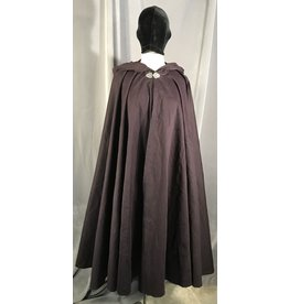 4011 - Purple Cotton Full Circle Cloak, Unlined Hood, Pewter Vale Clasp