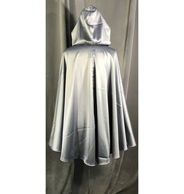 4015 - Silver Grey Full Circle Cloak, Unlined Hood, Pewter Vale Clasp