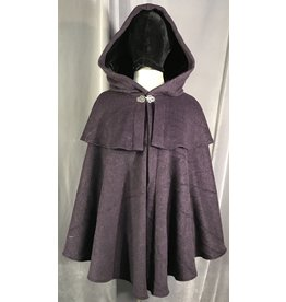 4016 - Purple & Black Striped Cloak w/Mantle, Black Stretch Velvet Hood Lining, Pewter Vale Clasp