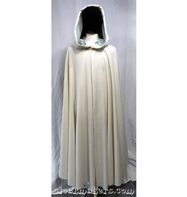 Cloak and Dagger Creations 3806 - Ivory Cream Polyester Full Circle Cloak with Mint Green Moleskin Hood Lining