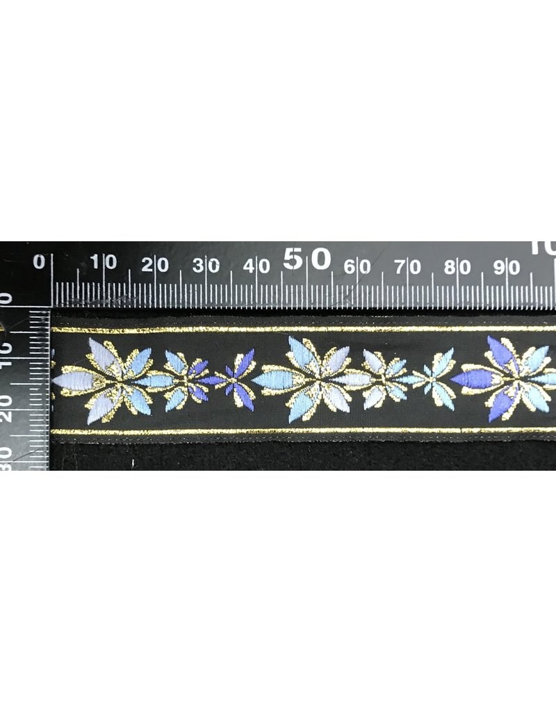 Cloak and Dagger Creations 5 Leaf Floral Vine Trim Shaded Blue with Gold