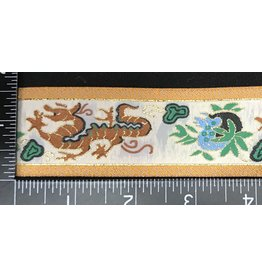 Dragon Garment Trim - Brown, Green, Gold, w/ Yellow Edges