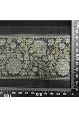 Cloak and Dagger Creations Wide Detailed Floral Ribbon Trim - Gold and Silver on Black