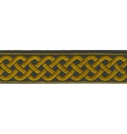 3 Strand Celtic Braid Trim, Amber on Black - Medium