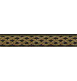 3 Strand Celtic Braid Trim, Gold on Black - Narrow