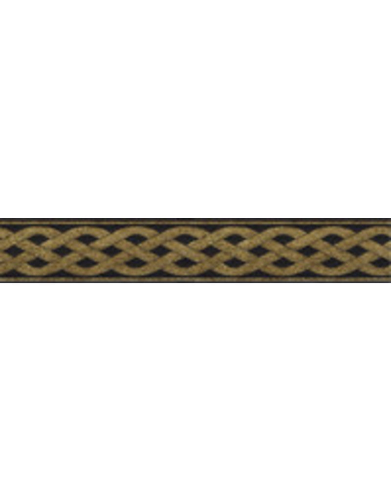 Cloak and Dagger Creations 3 Strand Celtic Braid Trim, Gold on Black - Narrow