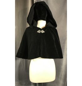 4010 - Black Velvet Shaped Shoulder Cloak, Unlined Hood, Pewter Triple Medallion Clasp