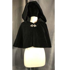 4010 - Black Velvet Shaped Shoulder Cloak, Unlined Hood, Pewter Triple Medallion Clasp