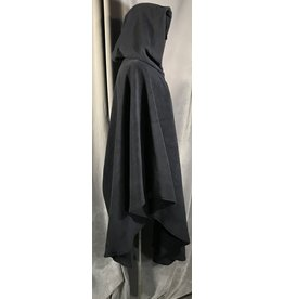 4017- Navy Blue Fleece Ruana-style Cloak,  Pewter Triple Medallion Clasp