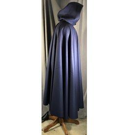 4019-Navy Blue Cloak w/Wine Red Moleskin Hood Lining, Triple Medallion Clasp