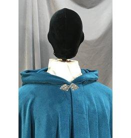 4020 - XL Teal Fleece Cloak, Pewter Triple Medallion Clasp