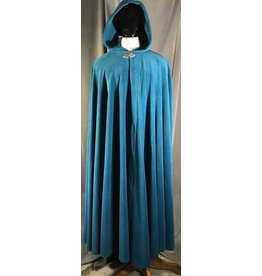Cloak and Dagger Creations 4020 - XL Teal Fleece Cloak, Pewter Triple Medallion Clasp