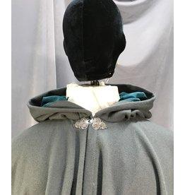 4024 - Grey Long Full Circle Cloak, Teal Moleskin Hood Lining, Pewter Triple Medallion Clasp