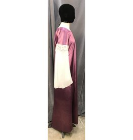 G1023 - Satiny Mauve Gown, Sheer White Sleeves, Wide Stained Glass Trim