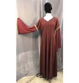 G1022 - Burgandy Moleskin Gown, Sheer Sleeves, Gold Floral Trim