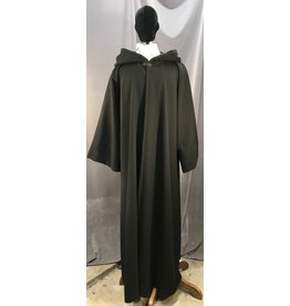 R450 - XXL Black Wool Holocaust Sith  Robe, Black Vale Clasp