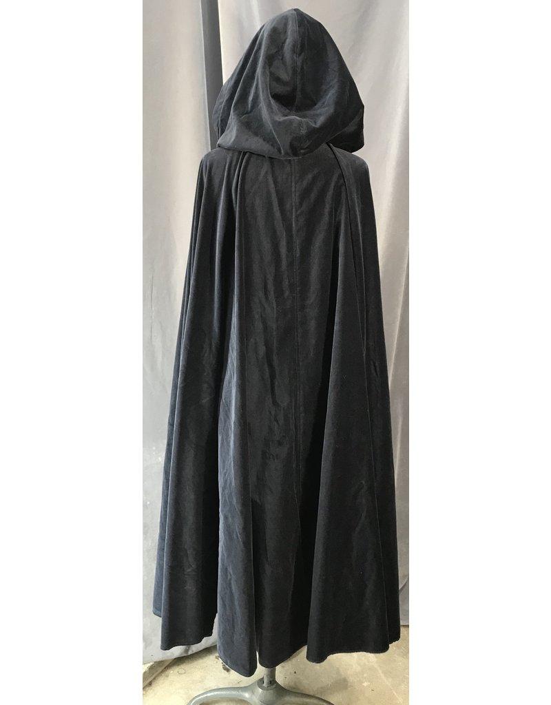 4025 - Midnight Blue Cotton Velvet Cloak, Red Stretch Velvet Hood Lining, Silver-Tone Vale Clasp