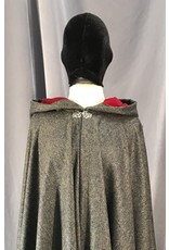 4028 - Variagated Grey Cloak, Red Velveteen Hood Lining, Silver-tone Vale Clasp