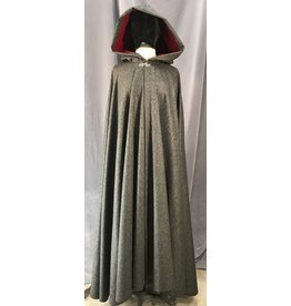 4028 - Variegated Grey Cloak, Red Velveteen Hood Lining, Silver-tone Vale Clasp