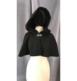Cloak and Dagger Creations 4030 - Black Short Shape Shoulder Cloak, Pewter Vale Clasp