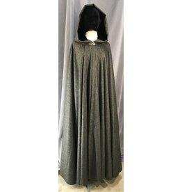 4031 - Grey Variegated Wool Full Circle Cloak, Black Velvet Hood Lining, Silver-tone Vale Clasp