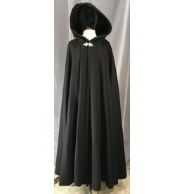4032 - Black Winter Cloak, Black Velveteen Hood Lining, Pewter Triple Medallion Clasp