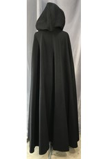 Cloak and Dagger Creations 4124 - Black Winter Cloak, Black Velveteen Hood Lining, Pewter Triple Medallion Clasp