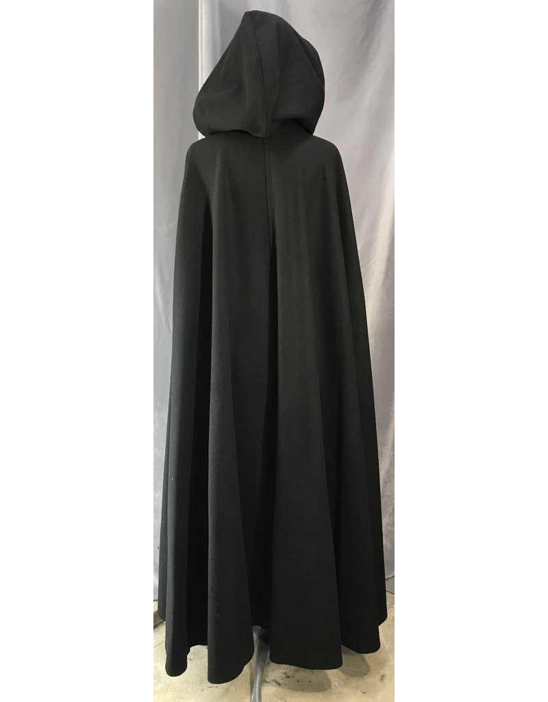 4032 - Black Winter Cloak, Black Velveteen Hood Lining, Pewter Triple Medallion Clasp