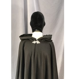 4033 - Black Herringbone Weave Cloak, Black Moleskin Hood Lining, Pewter Triple Medallion Clasp