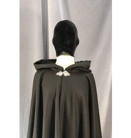 Cloak and Dagger Creations 4033 - Black Herringbone Weave Cloak, Black Moleskin Hood Lining, Pewter Triple Medallion Clasp