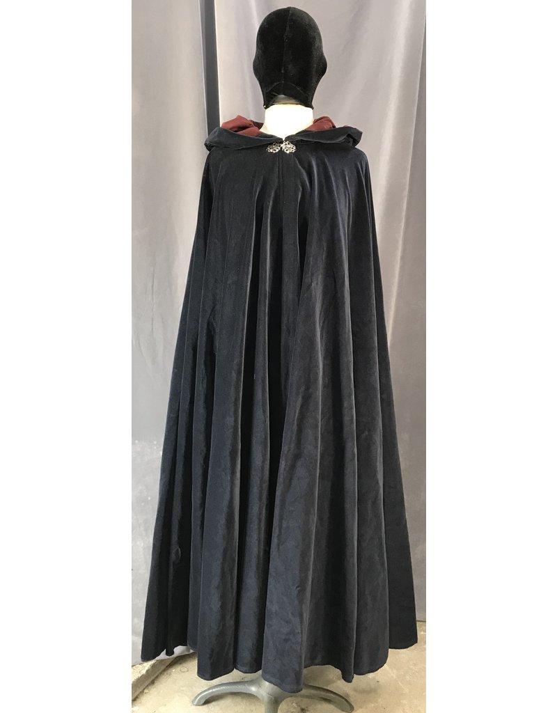 4034 - Midnight Blue Cotton Velvet Cloak, Burgandy Moleskin Hood Lining, Silver-Tone Vale Clasp