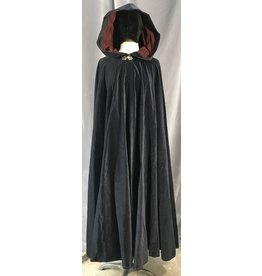 4034 - Midnight Blue Cotton Velvet Cloak, Burgandy Moleskin Hood Lining, Silver-Tone Vale Clasp