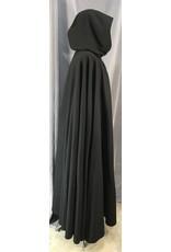 4035 - Long Black Winter Cloak, Teal Stretch Velvet Hood Lining, Pewter Triple Medallion Clasp