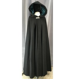 4035 - Long Black Winter Cloak, Teal Stretch Velvet Hood Lining, Pewter Triple Medallion Clasp
