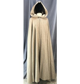 4036 - Brown/Tan Twill Full Circle Cloak, Tan Natural Linen Hood Lining, Pewter Vale Claso