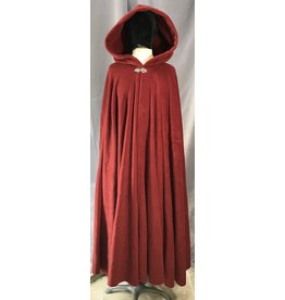 4037 - Ruby Red Fleece Cloak, Pewter Vale Clasp