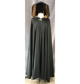 4038- Midnight Green Full Circle Cloak, Fawn Microfiber Hood Lining, Silver-tone Vale Clasp