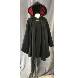 4026 - Double Layer Fleece Short Cloak, Black w/Red Self-Lining, Pewter Vale Clasp
