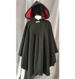Cloak and Dagger Creations 4029 - Double-Layer Fleece Ruana, Black w/Red Self-Lining, Pewter Vale Clasp